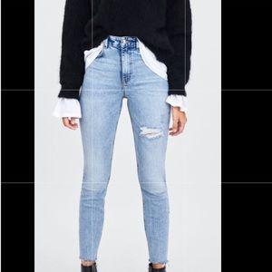 Zara distressed high-rise jeans